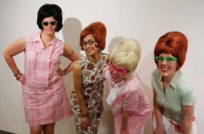 Brainstormers (l-r Anne Polashenski, Maria Dumlao, Danielle Mysliwiec, and Elaine Kaufmann) after their performance at the Brooklyn Museum in May 2007.